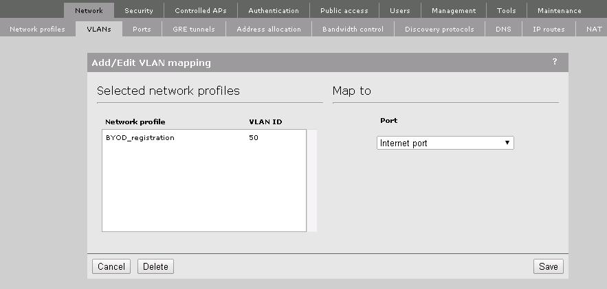 MSM VLAN Mapping