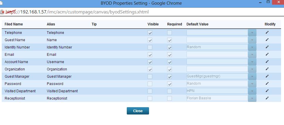iMC UAM BYOD Page Properties
