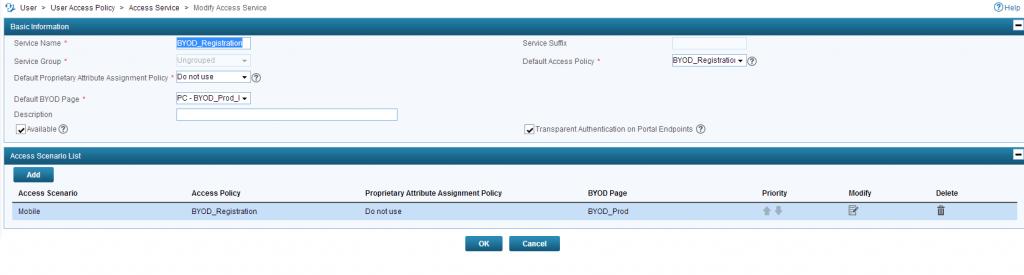 iMC UAM BYOD Registration Service