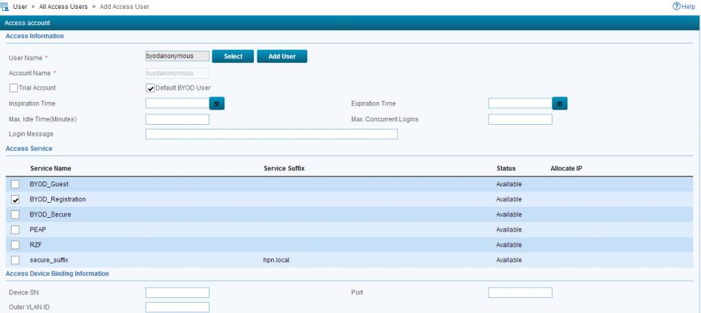 iMC UAM BYOD Add Default User