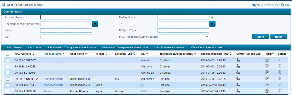 iMC UAM BYOD Endpoint Management