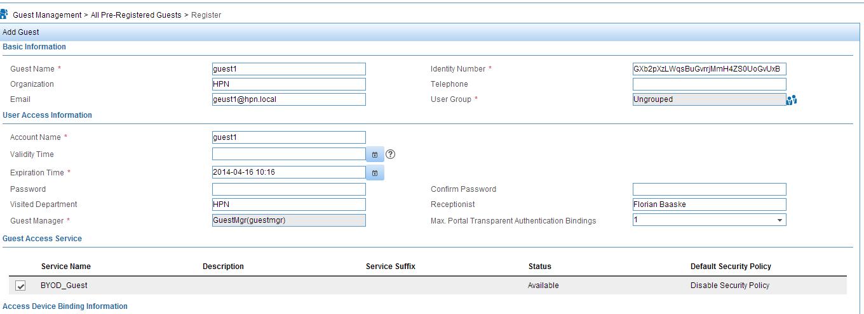 iMC UAM BYOD Register Guest