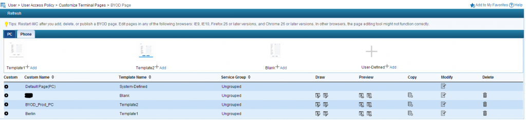 iMC UAM Create BYOD Page