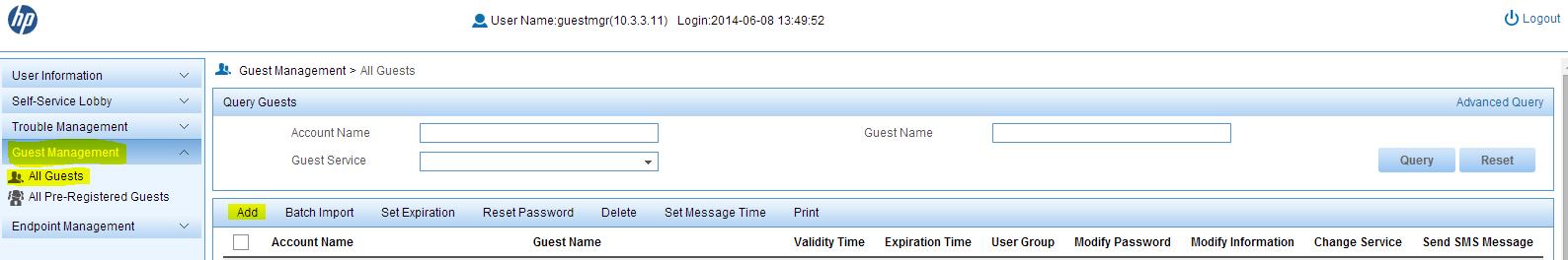 iMC UAM Self-Service Add Guest