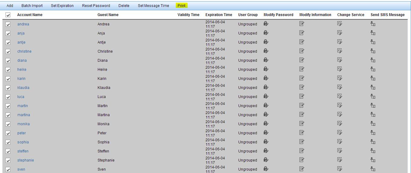 iMC UAM Self-Service Portal Batch Print