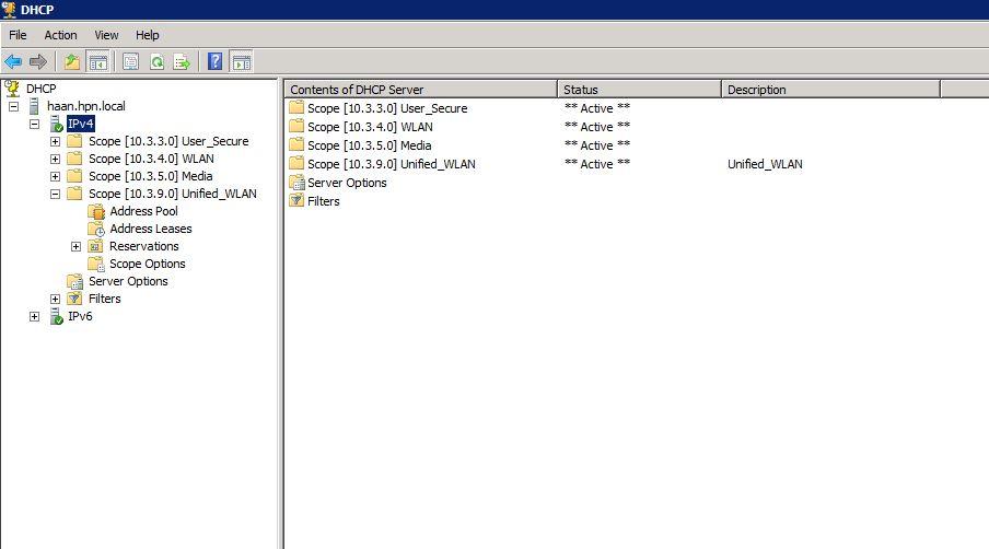 DHCP-management-console