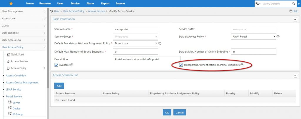UAM-Access-Service-Transparent-Authentication