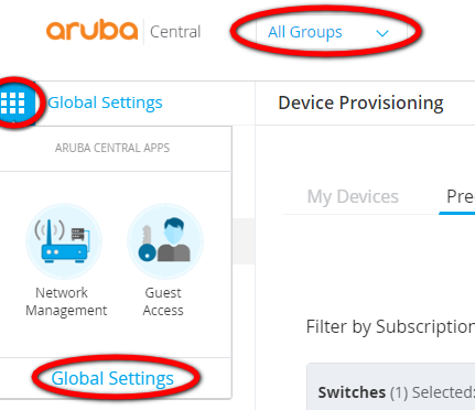 Aruba Central Provisioning Global Settings