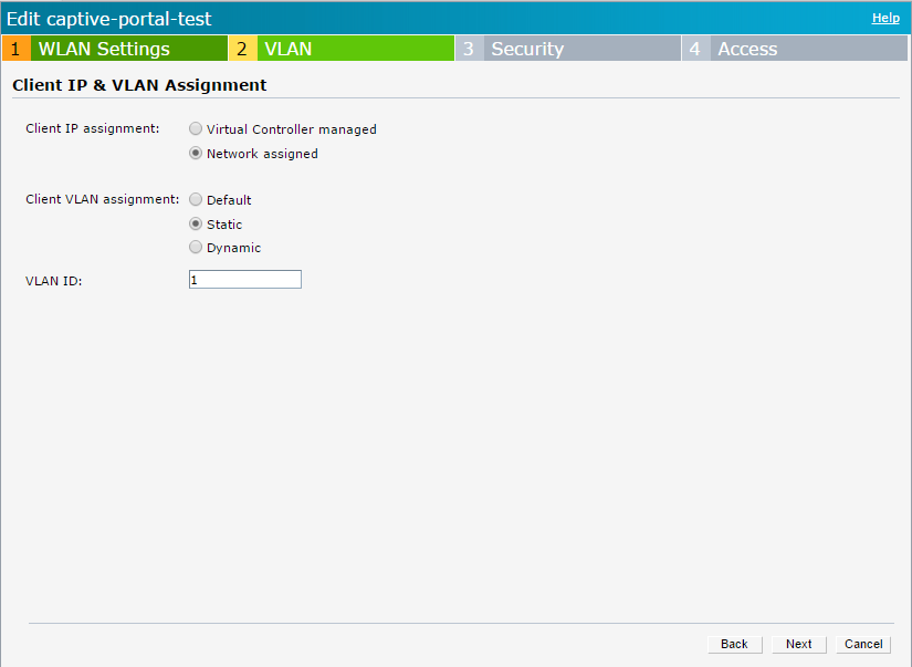 Aruba Instant - External Captive Portal Enhancement - Static VLAN