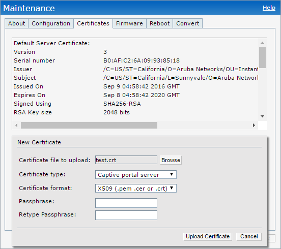 Aruba Instant - External Captive Portal Enhancement - Upload New Certificate