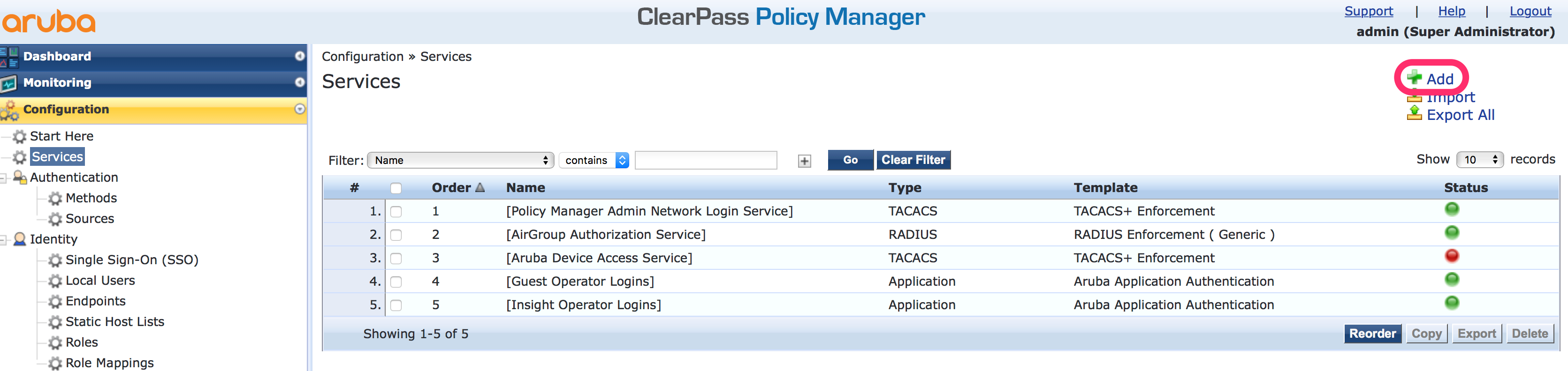Operator Login with ClearPass TACACS+