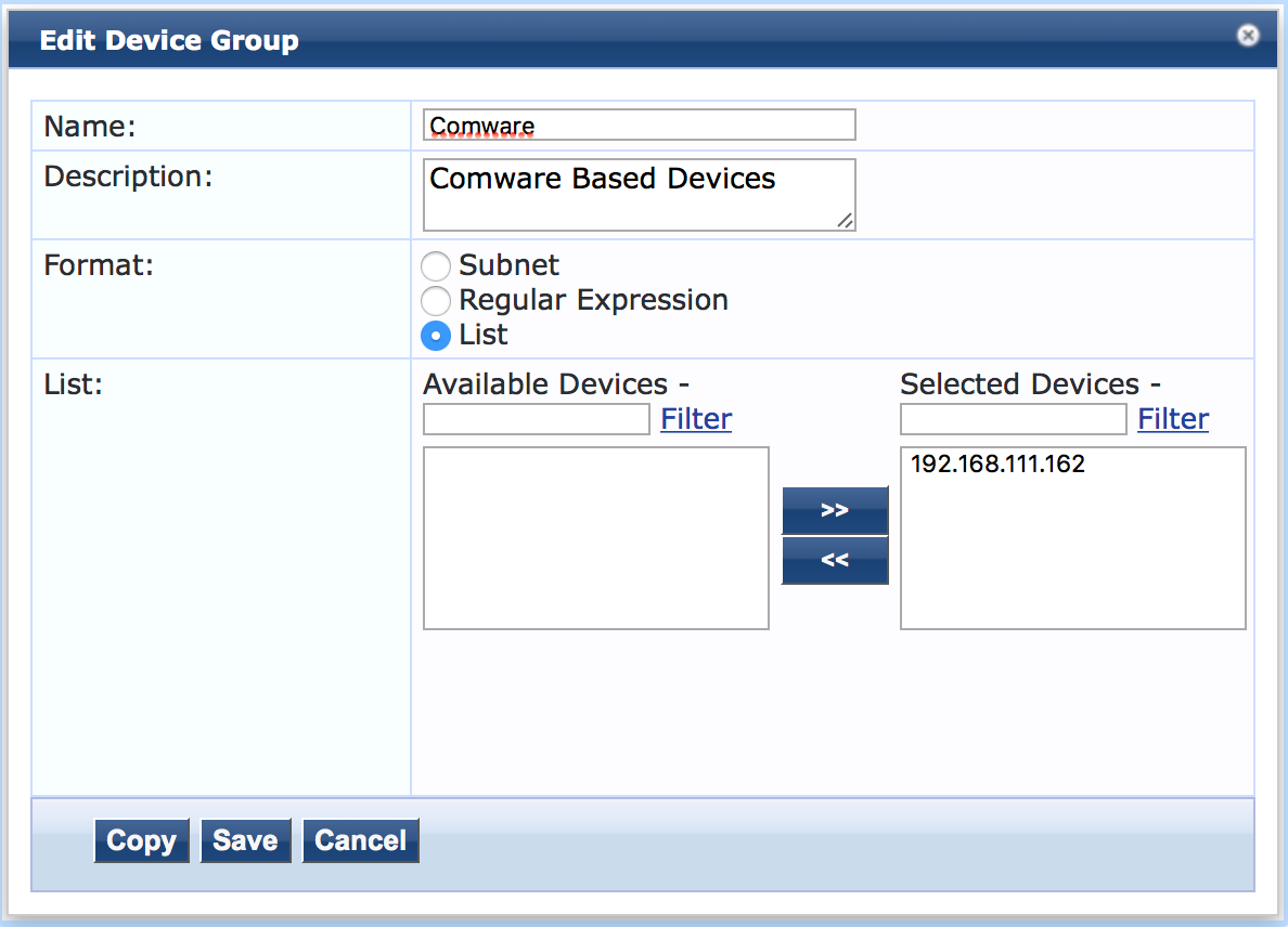 Operator Login - Add Access Device Group in ClearPass