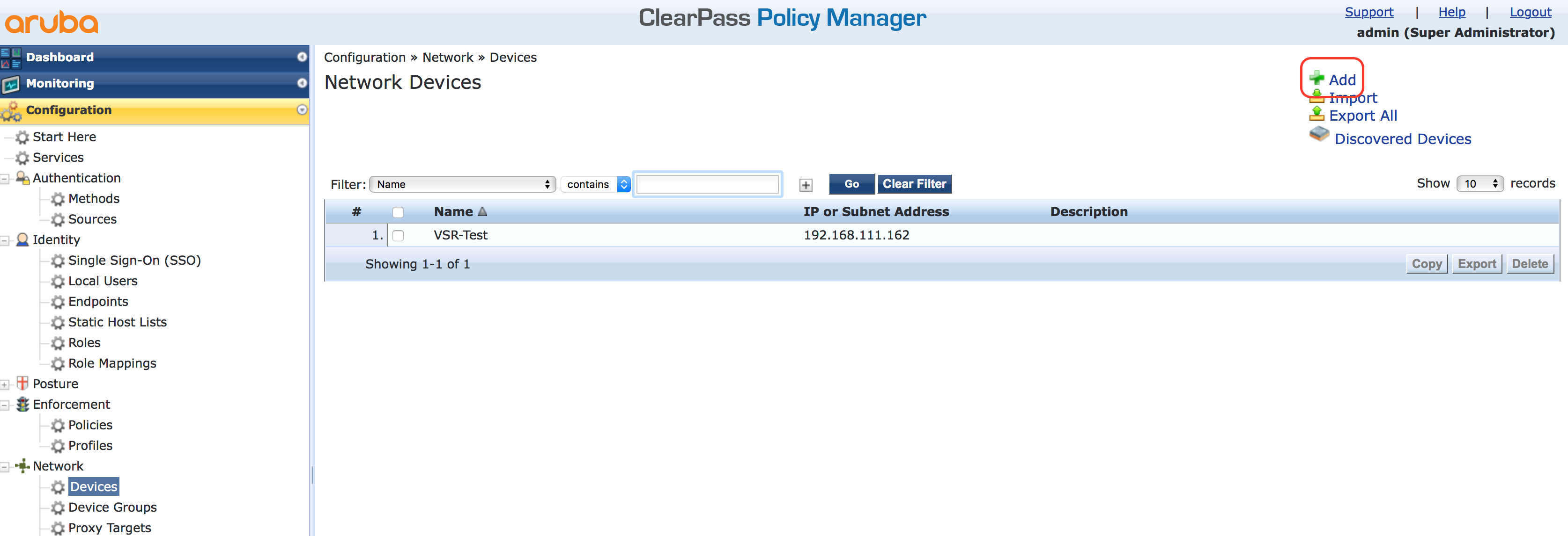 Operator Login - Add Access Device in ClearPass