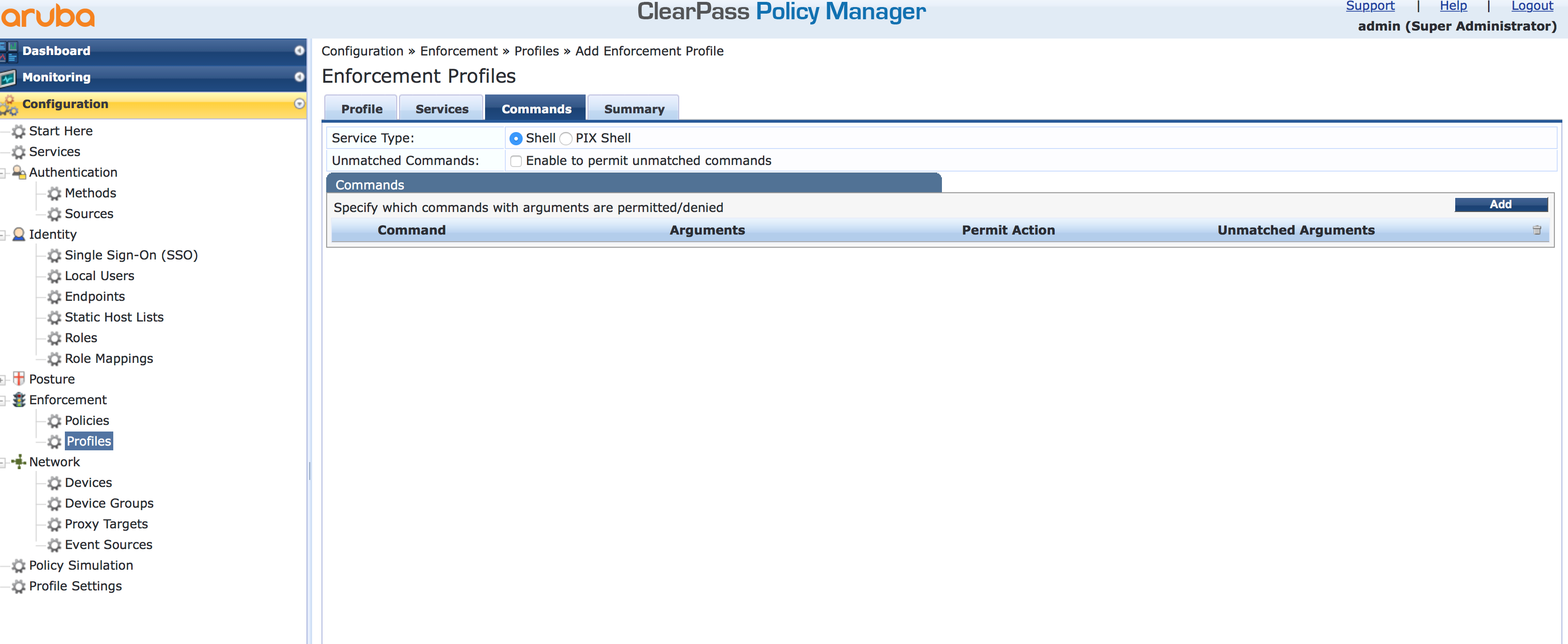 Operator Login - Add Enforcement TACACS Profile Commands in ClearPass