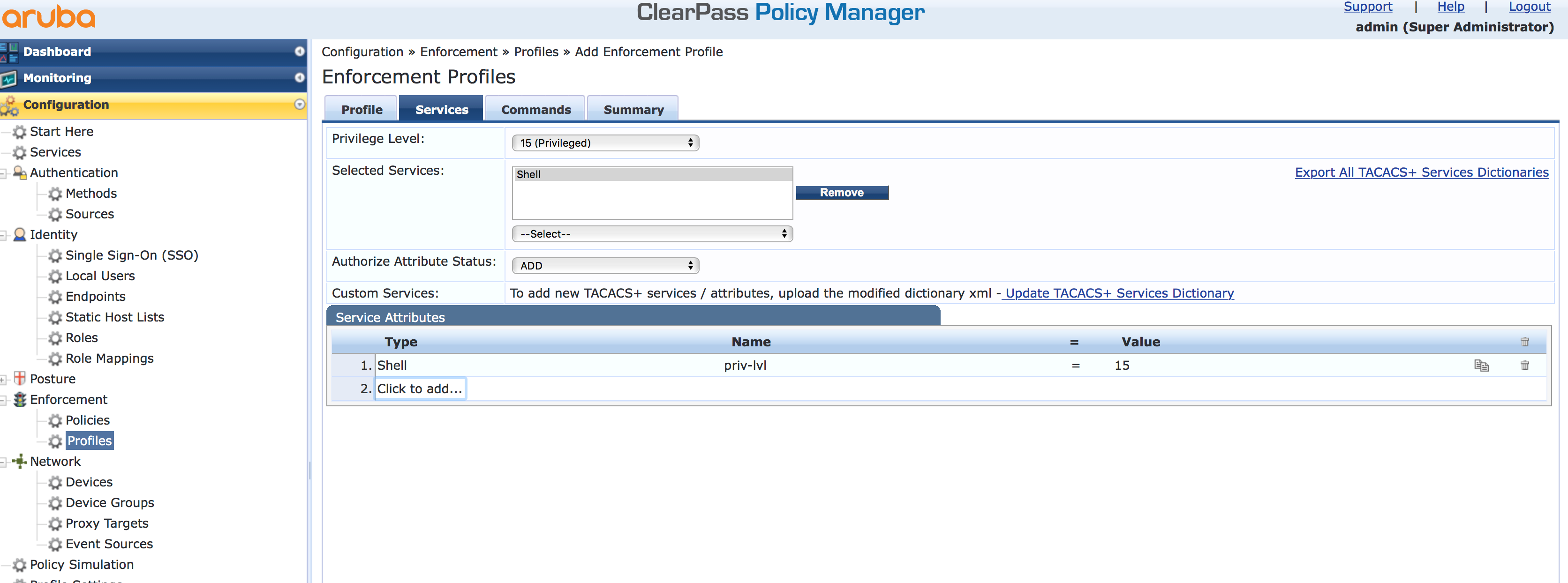 Operator Login - Add Enforcement TACACS Profile Services in ClearPass