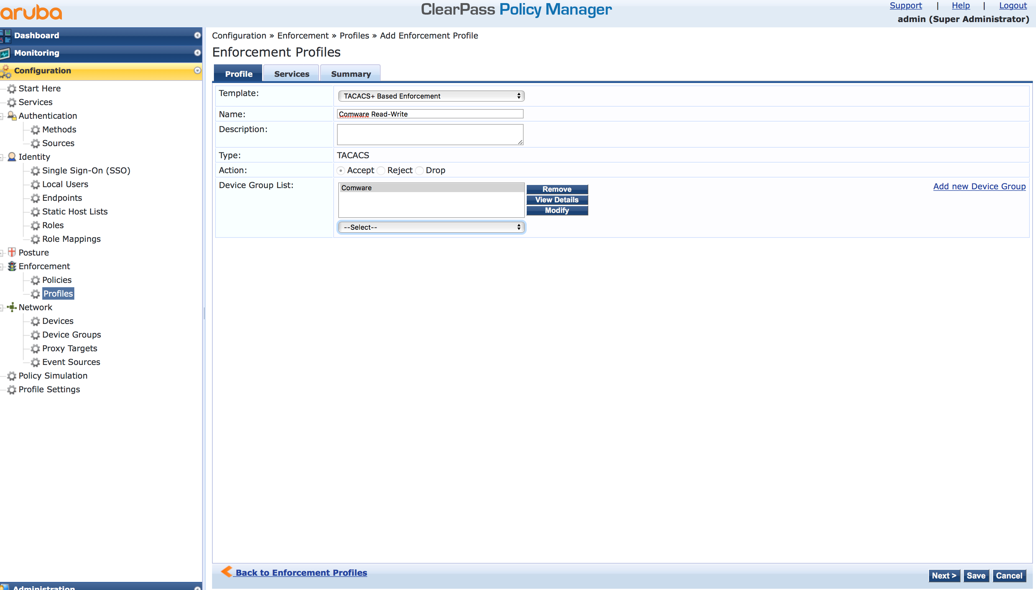 Operator Login - Add Enforcement TACACS Profile in ClearPass