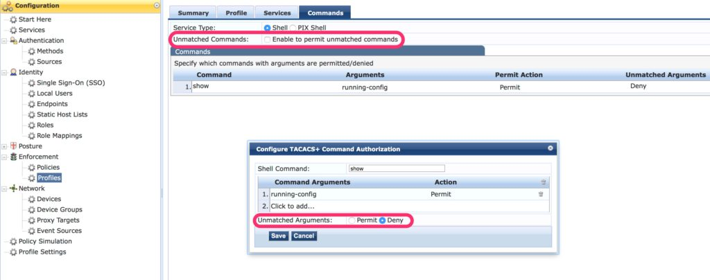 Operator Command Authorization and Accounting - ClearPass Enforcement Profile