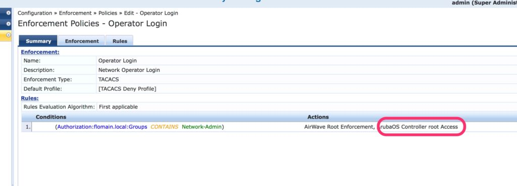 Operator Login - ClearPass Add ArubaOS Profile for Controller to Policy