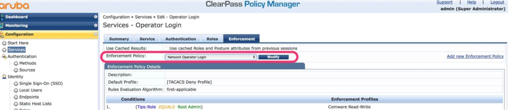 Operator Login - ClearPass Service add Enforcement Policy