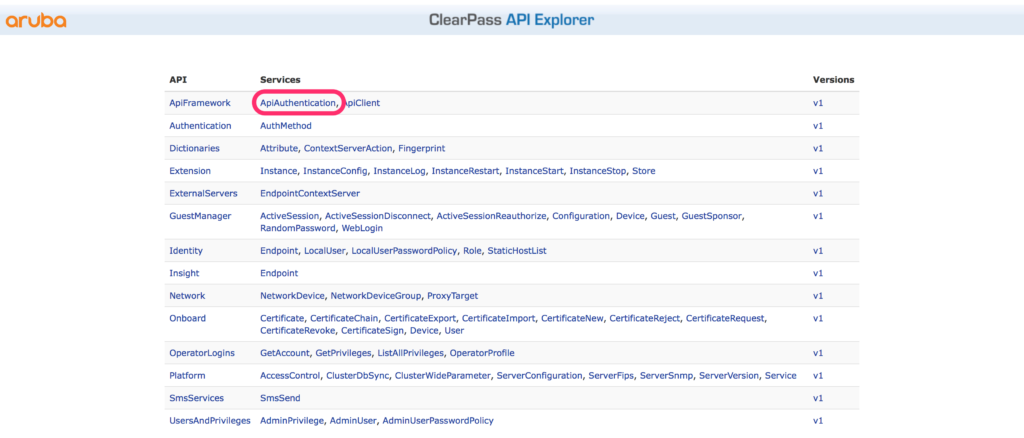 ClearPass RestAPI - API Explorer Authentication