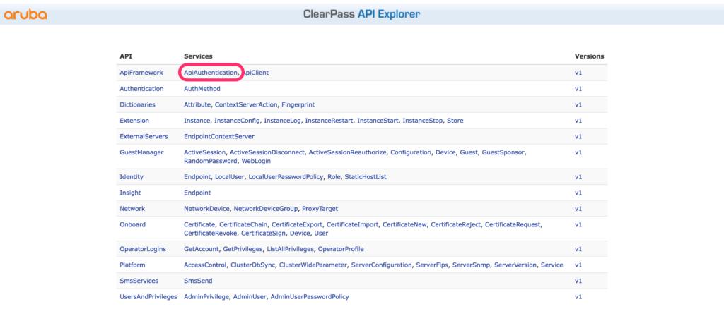 ClearPass RestAPI - API Explorer Authentication