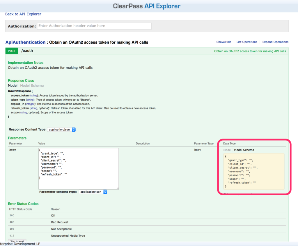 ClearPass RestAPI - API Explorer Authentication OAUTH