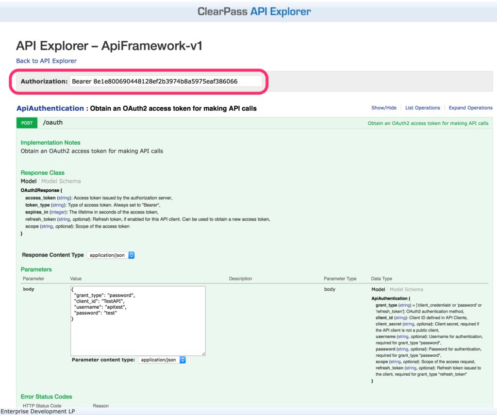 ClearPass RestAPI - API Explorer Authentication Token
