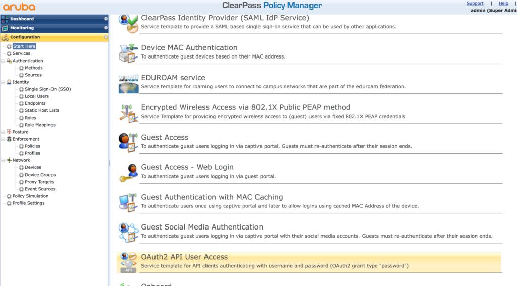 ClearPass RestAPI - Create Rest API Create Service