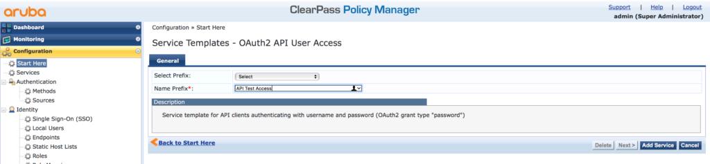 ClearPass RestAPI - Create Rest API Service