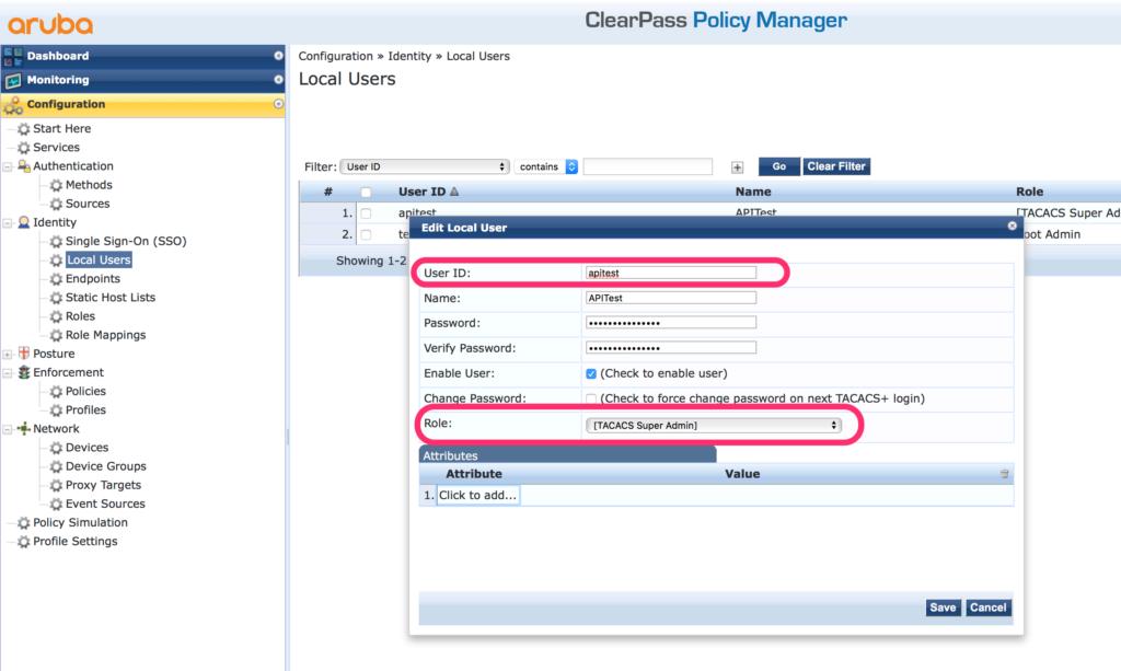 ClearPass RestAPI - Create Rest API User