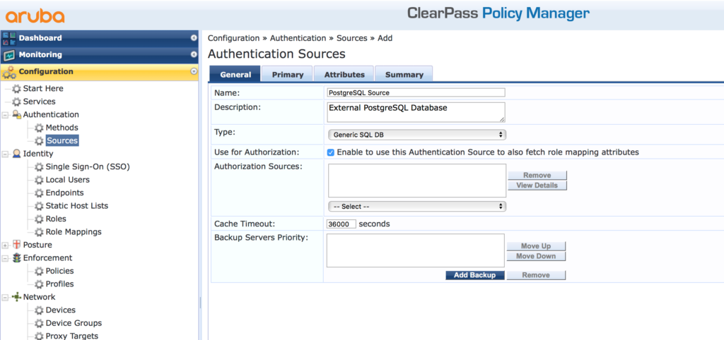 External SQL Authentication Source with ClearPass