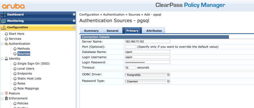 External SQL Authentication Source - Add Authentication Source Primary