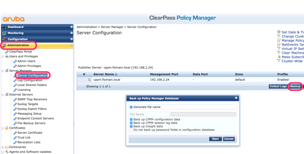 Migrate ClearPass - Create Backup of old Server