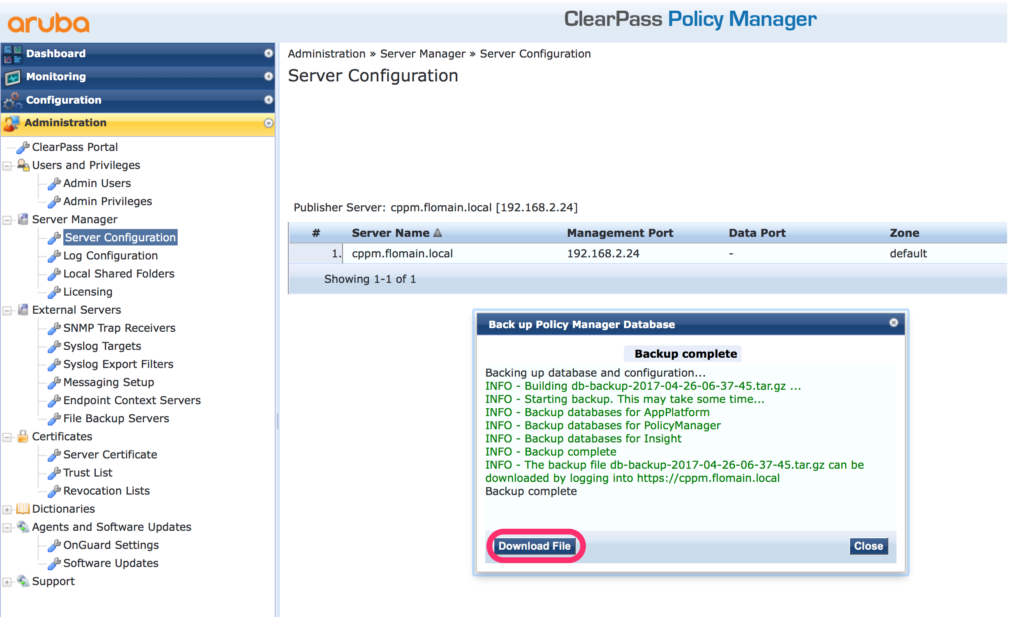 Migrate ClearPass - Download Backup of old Server