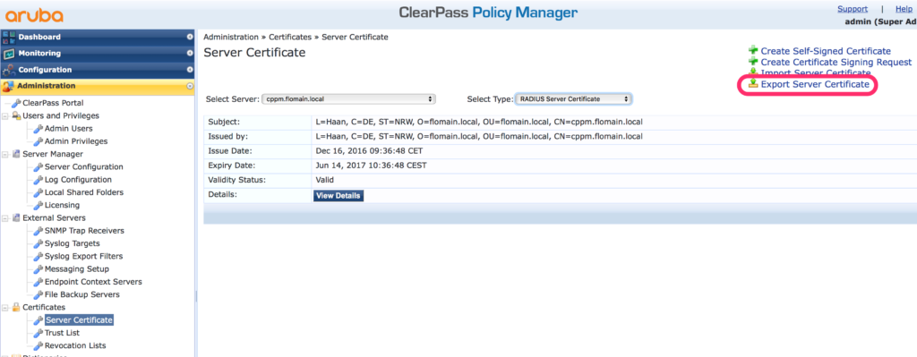 Migrate ClearPass - Export Server Certificates