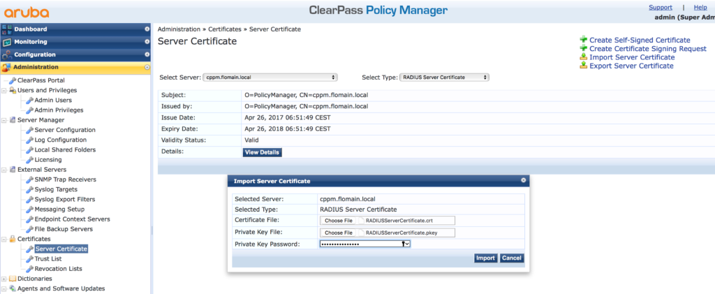 Migrate ClearPass - Restore Server Certificates