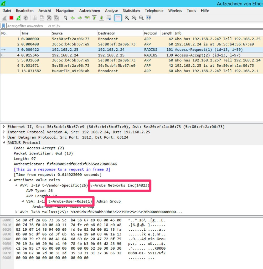 iMC Operator Login - Vendor ID and Type from Wireshark