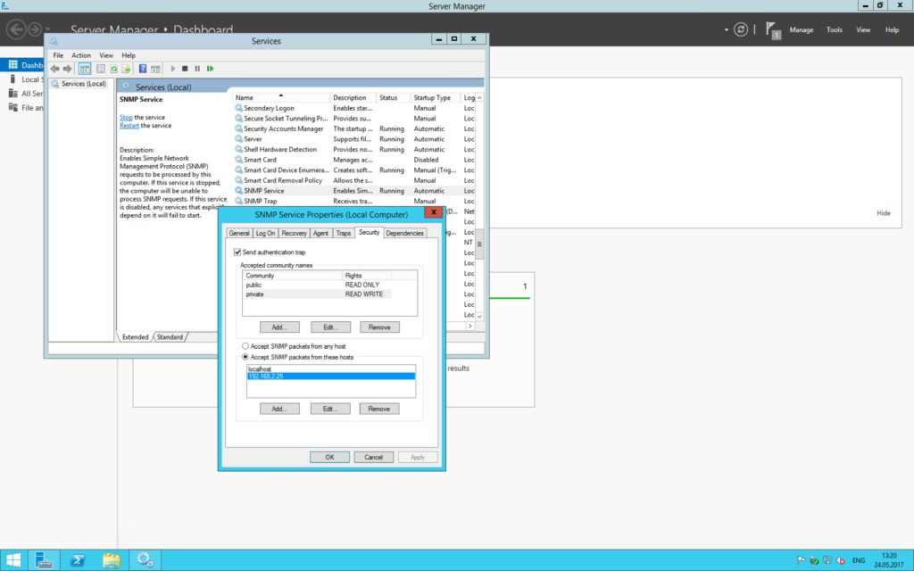 iMC DHCP Agent: Configure SNMP Service on Windows Server