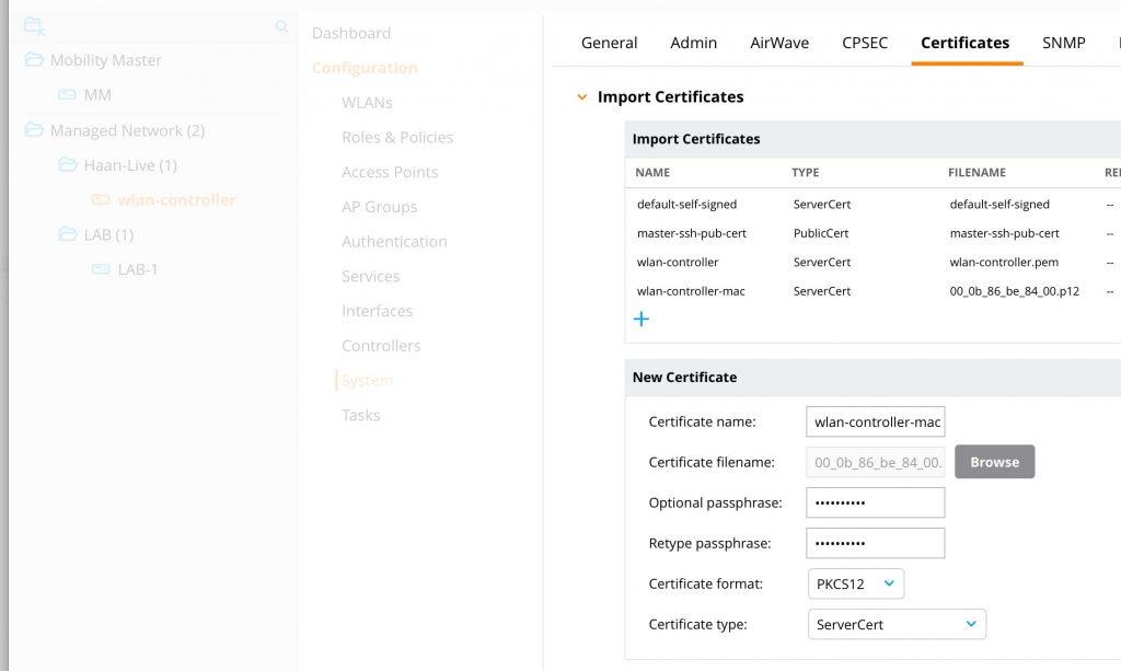 Controller Deployment - Import Certificate
