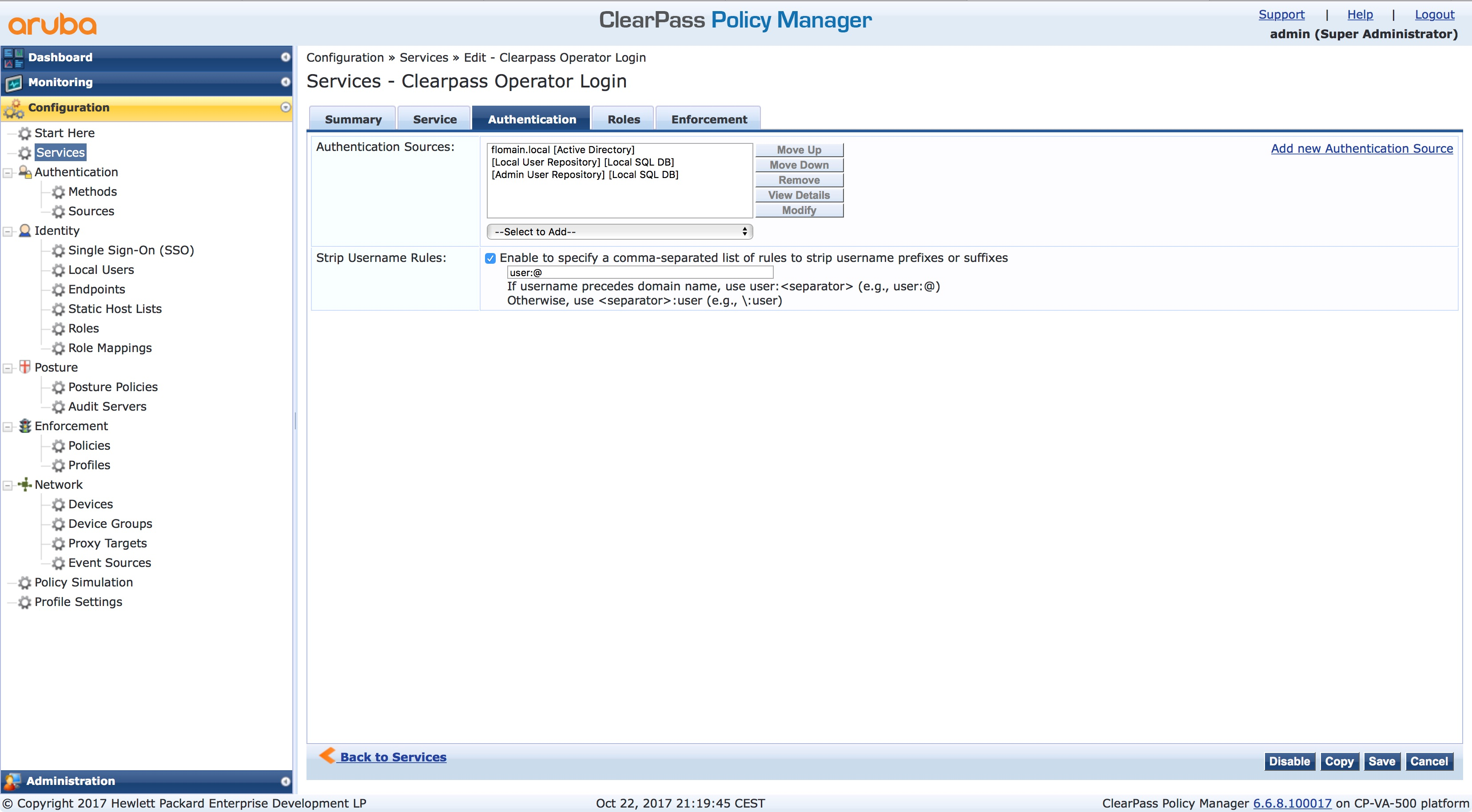 ClearPass Operator Login with Active Directory - Flomain