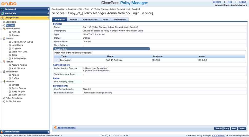 Clearpass Operator Login - Copy of Policy Manager Admin Network Login Service