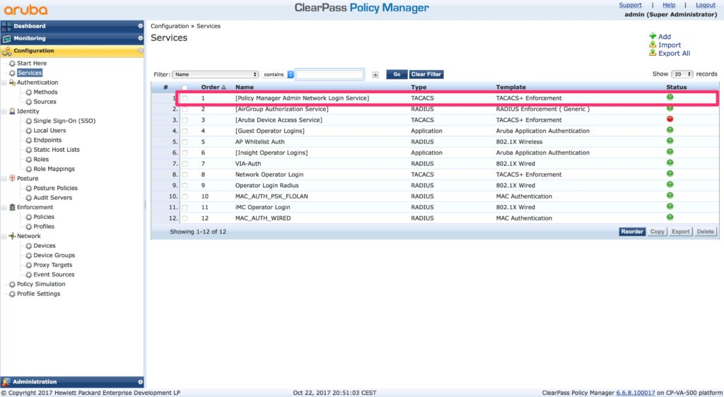 Clearpass Operator Login - Policy Manager Admin Network Login Service