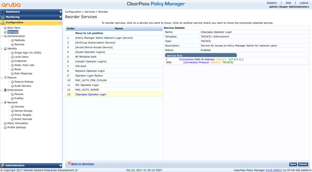 Clearpass Operator Login - Reorder Services List
