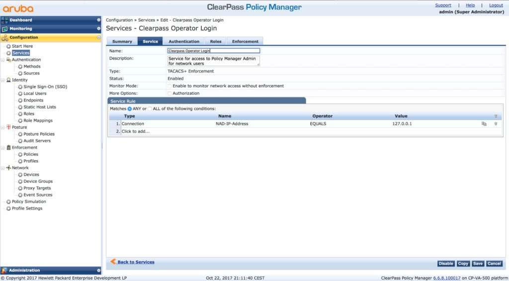 Clearpass Operator Login - Service