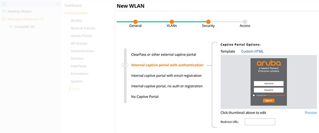 Captive Portal without PEFNG - Create WLAN Security