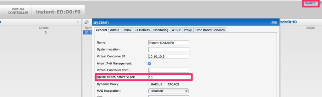 Change the Management VLAN – Configure Uplink VLAN