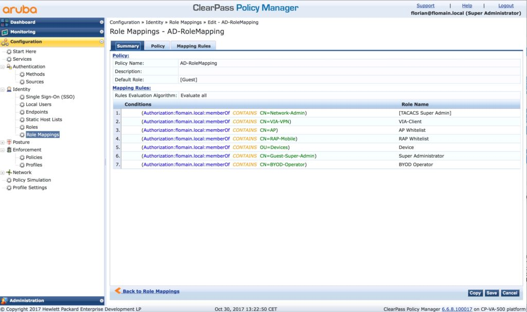 ClearPass Guest Operator Login - ClearPass Role Mapping
