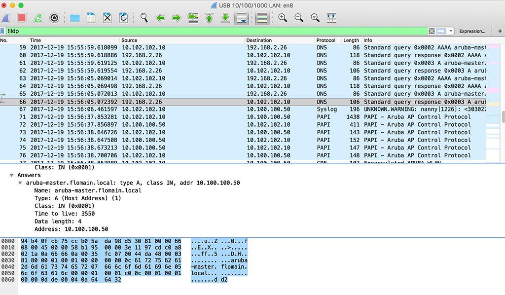 Unified Aruba Controller Discovery - DNS Request aruba-master