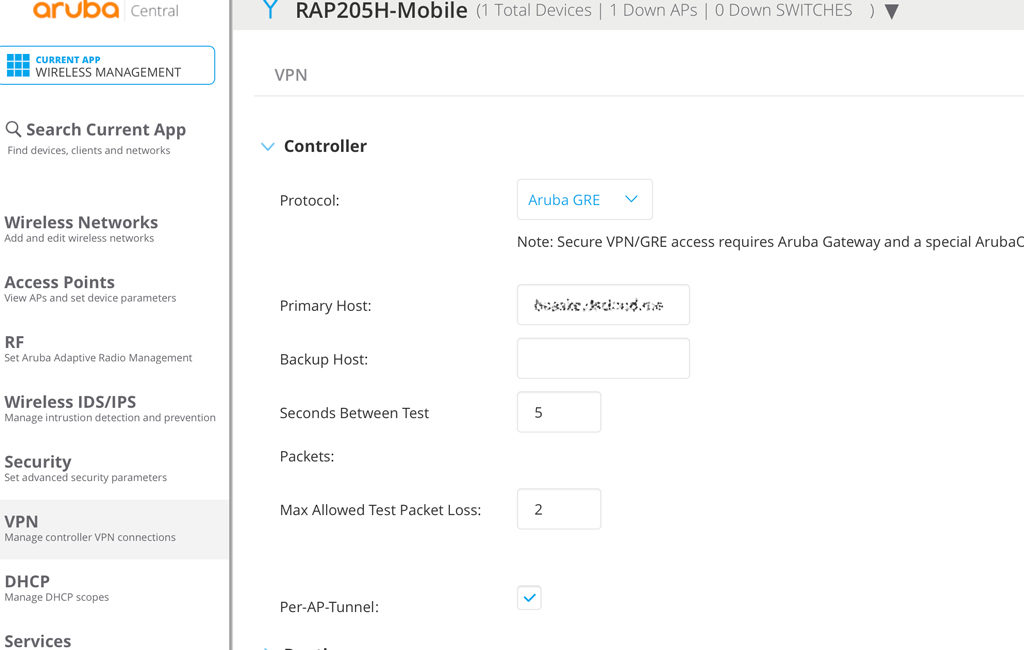 IAP-VPN - Configure Aruba GRE in Central