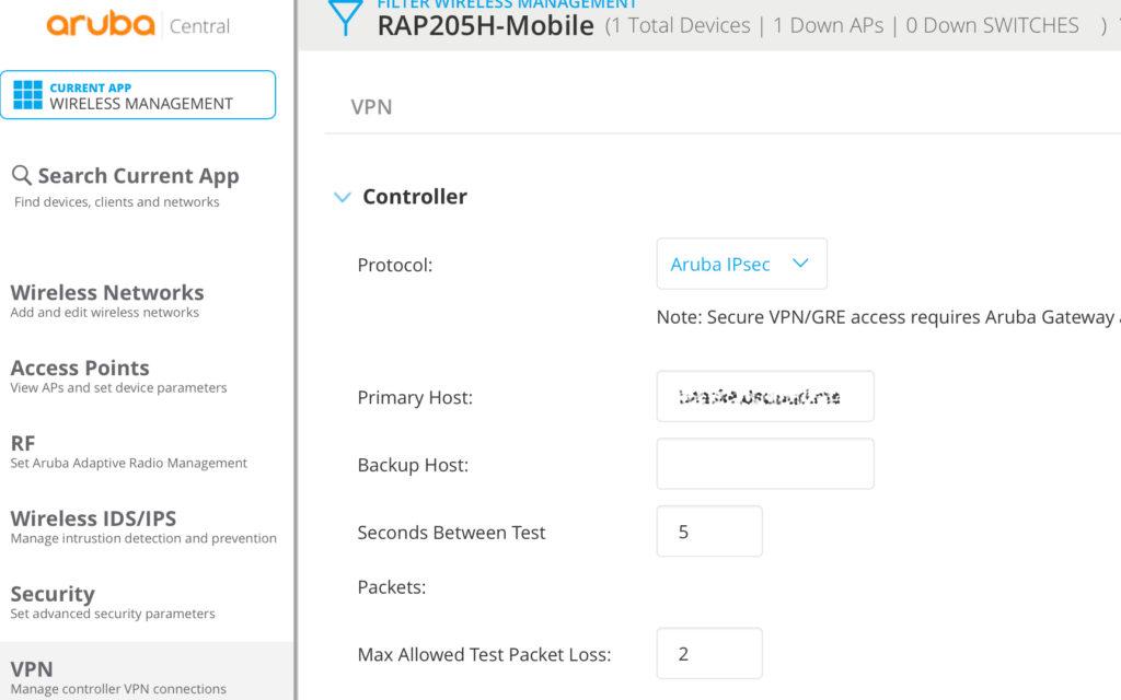 IAP VPN - Configure Aruba IPSec in Central
